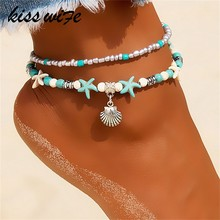KISSWIFE Vintage Shell Beads Anklets For Women New Multi Layer Anklet Leg Bracelet Bohemian Beach Ankle Chain Jewelry Gift(China)