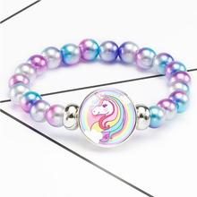 New Unicorn Beads Bracelets 18mm Snap Holder Buttons Dome Cabochon Flamingos Charms Trendy Jewelry Girls Women Boy Unisex Gift