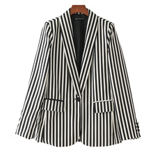 2017 Casual Striped Single Button Womens Vogue Suit Blazer Fashion Notched Long Sleeve Pockets Feminino Blaser Female Outerwear