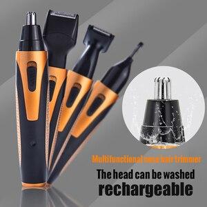 Image 5 - 4 في 1 قابلة للشحن الكهربائية الأنف الشعر المتقلب إزالة المقص ماكينة حلاقة اللحية أداة قص الحواجب للرجال الأنف مقص الشعر