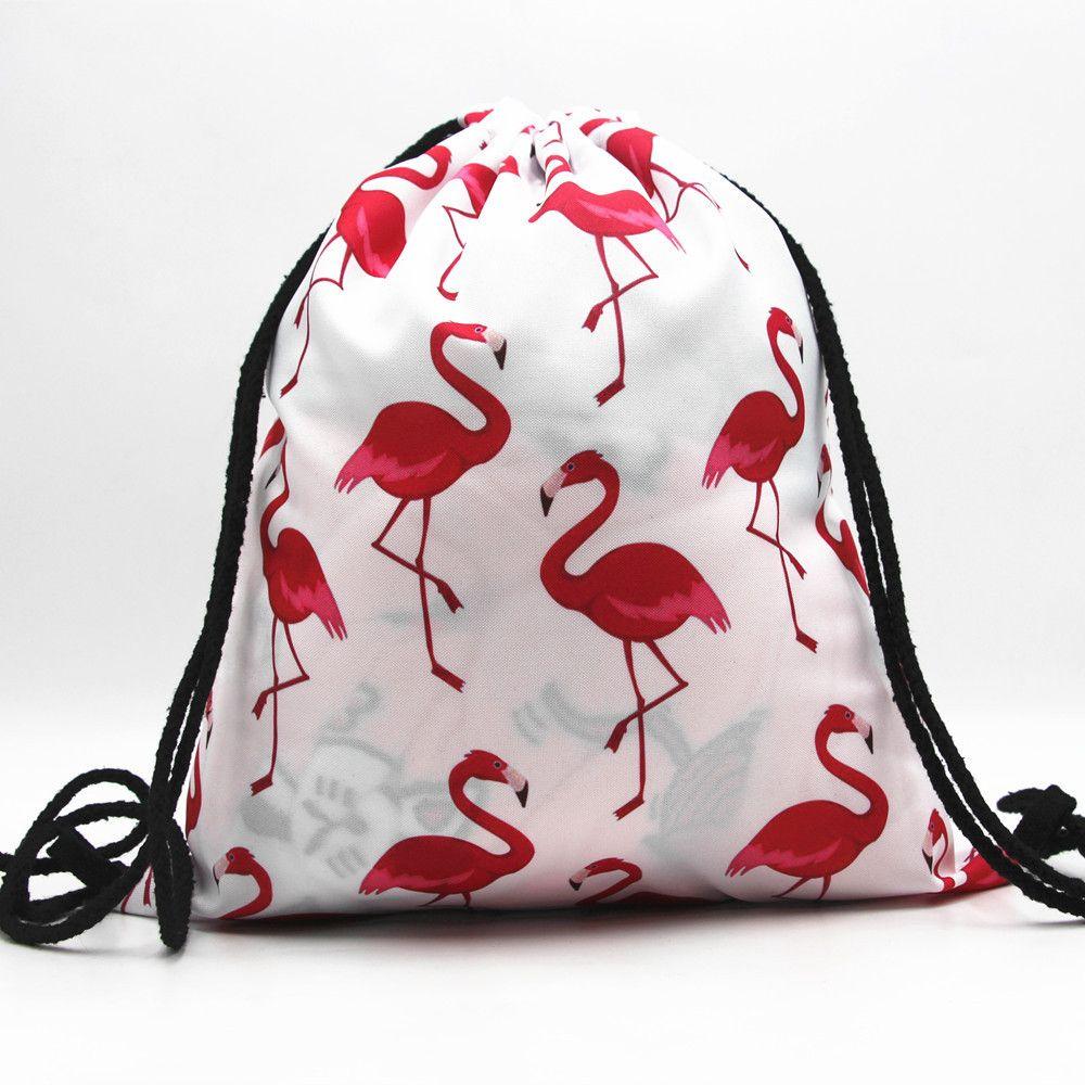 1 Stück Mode 32*39 Cm Männer Frauen Oxford Tuch Kordelzug Reise Einkaufstasche Rucksäcke Flamingos Eulen Druck Kordelzug Strahl Port
