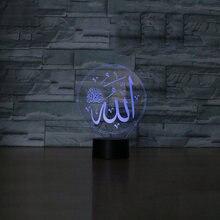 Лампа Мухаммед меняющая цвет 3d Акриловый светодиодный настольный