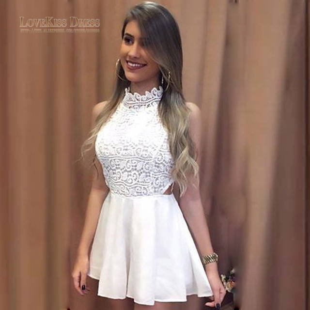Vestido Curto High Neck Off Shoulder White Lace Top with Mini Skirt Cocktail Dress Girls Homecoming Dress Short Party Dress