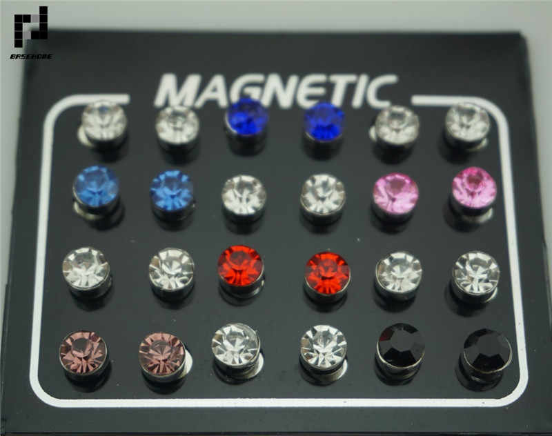BASEHOME 24pcs/lot 3/4/5/6/7mm Round Crystal Rhinestone Magnet Stud Earring Puck Womens Mens Magnetic Fake Ear Plug Jewelry