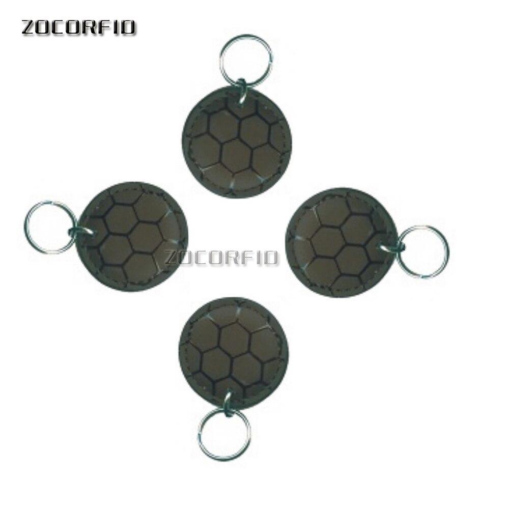 купить Football style Leather 10pcs EM4100 Badge Key 125khz ID Keyfob RFID TK4100 Tag Tags Card Sticker Fob Token Ring Proximity по цене 633.06 рублей