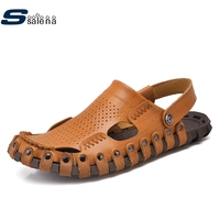 SSALENA Genuine Leather Summer Sandals Men Soft Footwear Classic Wedge Sandals All Match Casual Shoes A839