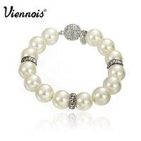 Viennois Simulated Pearl Beads Women Bracelets Bangles Silver Rhinestone Girl WWedding Strand Bracelet Fashion Jewelry