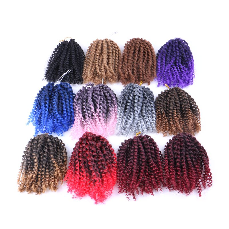 "Luxury For Braiding 3pcs Kanekalon Synthetic Bulk Hair Extensions 8"" Mali Bob Afro Bohemian Twist Kinky Curly Crochet Braids"