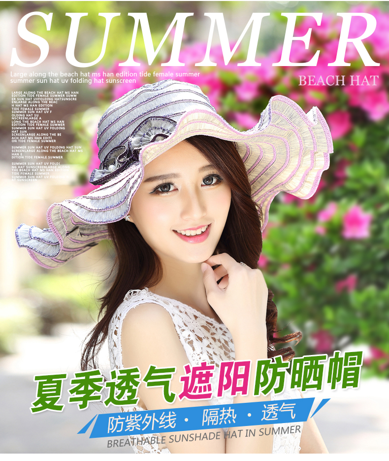 feaea5f6408 Summer Sun Hat For Women Uv Sunscreen Folding Beach Hats Elegant ...