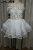 Gardlilac Lace Boat neck Short Homecoming dress white short party Dress Organza Ruched Short Evening vGowns