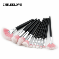 CHILEELOVE 10 Pcs High Quilaty Wooden Handle Color Hair Makeup Brushes Kit Cosmetic Make Up Tool