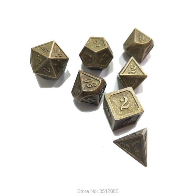 A nova fonte de vendas diretas Dungeons & Dragons 7 pçs/set Criativo Dice RPG D & D Dados Do Metal de bronze Antigo parágrafo esmalte