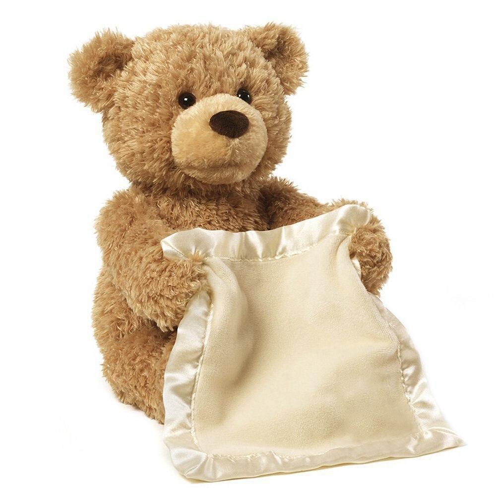 New Orso Giocattoli peek a Boo Teddy Bear Giocare a Nascondino Fumetto bello Farcito Regalo di Compleanno Per Bambini 30 cm Sveglia di Musica Orso Giocattolo Della Peluche