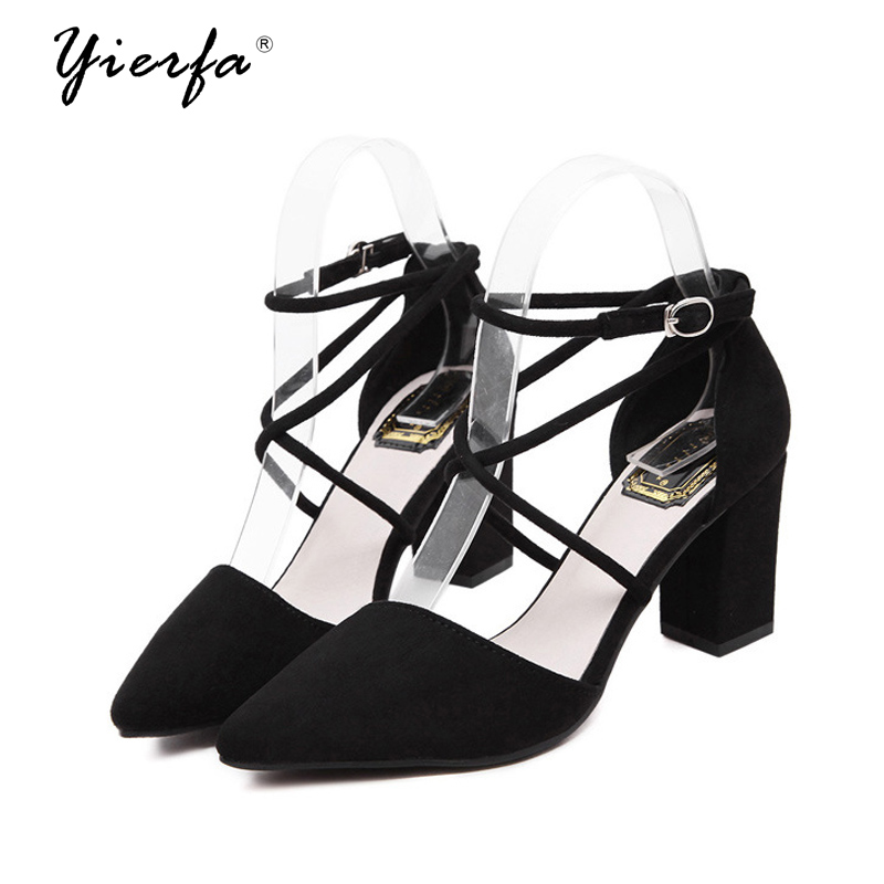 2017 new women shoes comfortable and elegant cross around the foot pointed high-heeled sandals suede leather shoes morais r the hundred foot journey