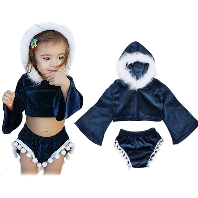 2d0d22e2e5ba2 US $10.01 12% OFF Girls Clothes Set 2018 New Kids Baby Girls Children  Outfits Clothes Fur Hooded Long Sleeve T shirt Tops+Shorts 2PCS Set -in  Clothing ...