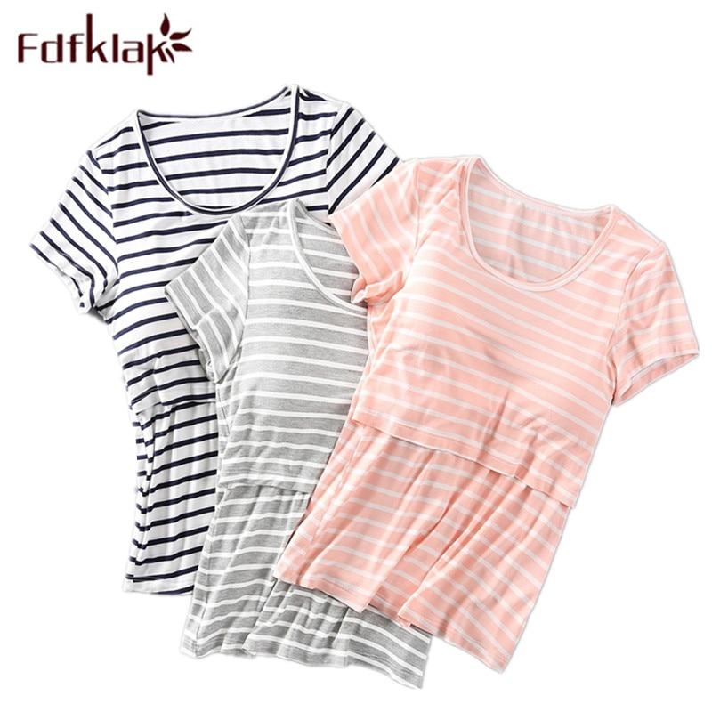 Fdfklak Summer New Modal Woman Short Sleeve Striped T-Shirt Blouse Pregnancy Clothes Maternity Tops Breast Feeding Clothes F332