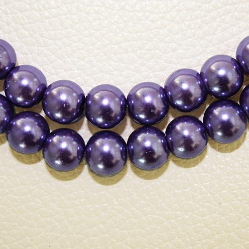 8 мм 30 шт белый черный зеленый фиолетовый Круглые Стеклянные Перламутровые Бусины много цветов на выбор PS-BBD012 - Цвет: Purple
