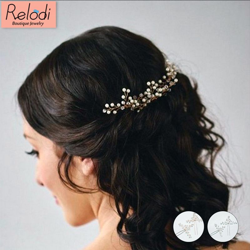 Wedding Crystal Pearl Hair Pins Gold Bridal Hair Accessories Fashion Women Hair Sticks Clips Many Wedding Hair Jewelry SP0025