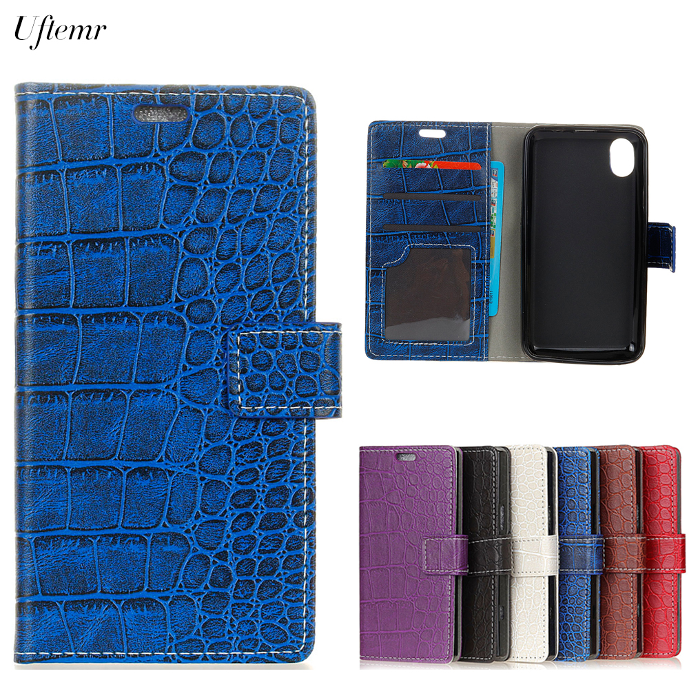 Uftemr Vintage Crocodile PU Leather Cover For WIKO Robby 2 Protective Silicone Case Wallet Card Slot Phone Acessories