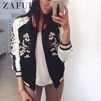 ZAFUL Reversible Jacket Coat Floral Embroidered Bomber Jacket Women Autumn Flower Baseball Basic Jacket Female Black Coat 2019