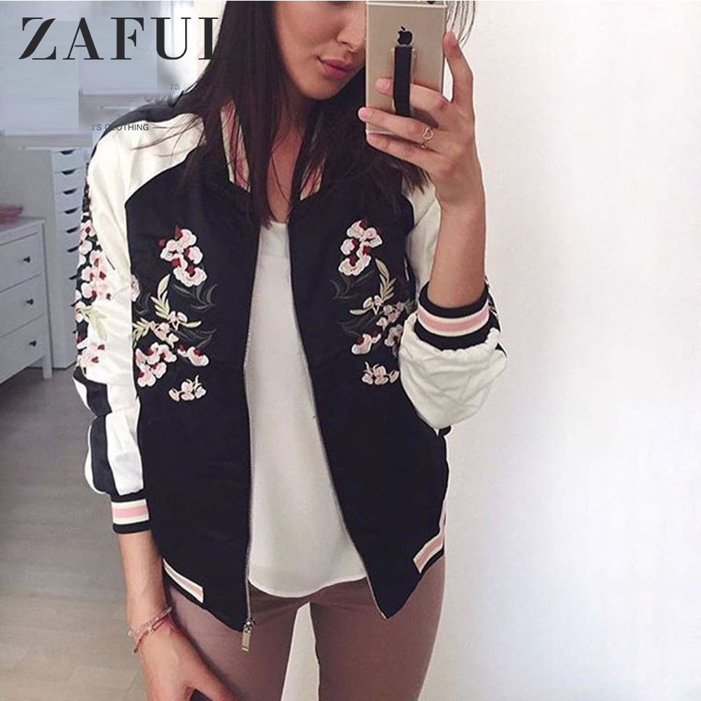ZAFUL Reversible   Jacket   Coat Floral Embroidered Bomber   Jacket   Women Autumn Flower Baseball   Basic     Jacket   Female Black Coat 2019