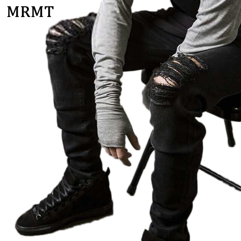 2018 MRMT Mens Black Ripped Jeans Pants Male Moto Slim Jeans Skinny Jogger Jeans For Men Fashion Summer High Street Brand ...
