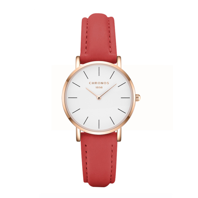 CHRONOS Women Simple Causal Quartz Watch Fashion Red Brown Leather Rose Gold Wat