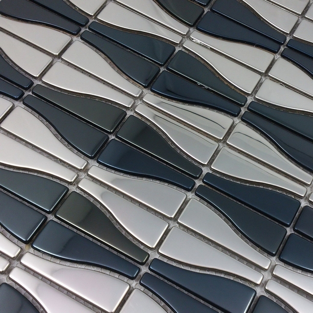 Gebogene Mosaik Silber Gemischt Schwarzen Edelstahl Mosaik Fliesen