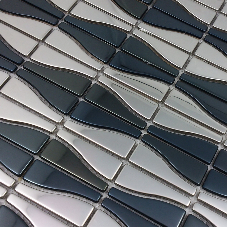 curved metal mosaic silver mixed black stainless steel mosaic tiles for kitchen backsplash dining room wall tile hme8087