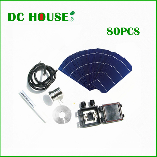 80pcs Solar Cell 6×2 Mono Solar Cell+Flux Pen+Tab Wire +Bus Wire PV Wire Solar Cells For DIY 144W Solar Panel