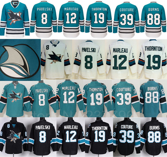 25th Anniversary San Jose Sharks Jersey Hockey 8 Joe Pavelski 12 Patrick  Marleau 19 Joe Thornton 39 Logan Couture 88 Brent Burns 0dfaa8e6e