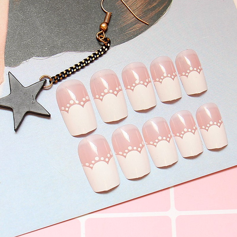 Pattern in French joker contracted fake nails of long nail glue-in False Nails from Beauty & Health    3