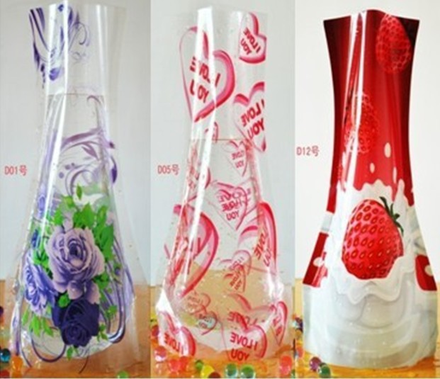 Beautiful Pvc Big Plastic Flower Vase Pop Up Reusable Diy Home