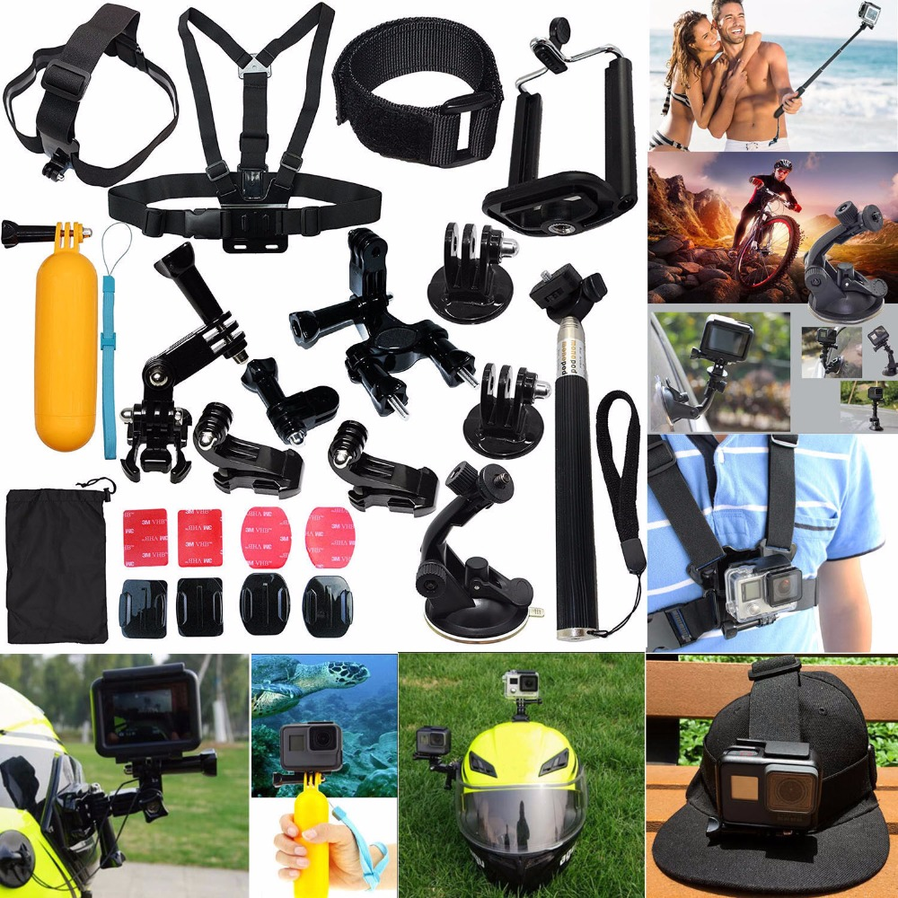 For GoPro Hero 5 4 6 3 2 Session Accessories Camera Mount suction Cup Stick Kit Xiao mi yi Kit Mount Eken Chest Strap case