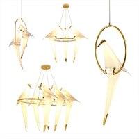 Nordycki współczesny papierowy żuraw metalowy żyrandol do restauracji salon jadalnia dziecięce oświetlenie led do pokoju wzór z ptakami lampa wisząca w Wiszące lampki od Lampy i oświetlenie na