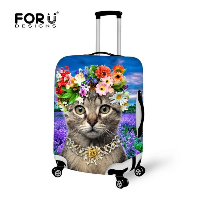 Designer de Flor Animal Gato Bonito Impressão de Viagem Bagagem Capa Protetora Casos Acessórios Mala do Estiramento Elástico 18-30 Polegada