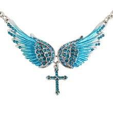 Necklace Goth Jewelry Cross-Choker Angel-Wings Crystal Gift Silver-Color Biker YACQ Women