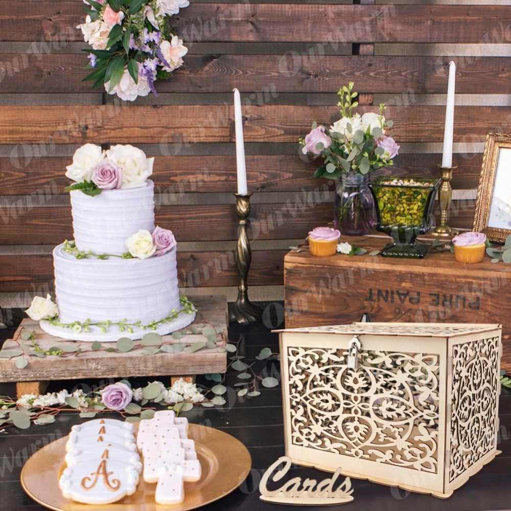 Ourwarm Scatola di Carta da Sposa Festa di Compleanno Decorazioni Rustico Scatola di Carta con Serratura di Legno Fai da Te Contenitore di Soldi Regalo per Gli Ospiti