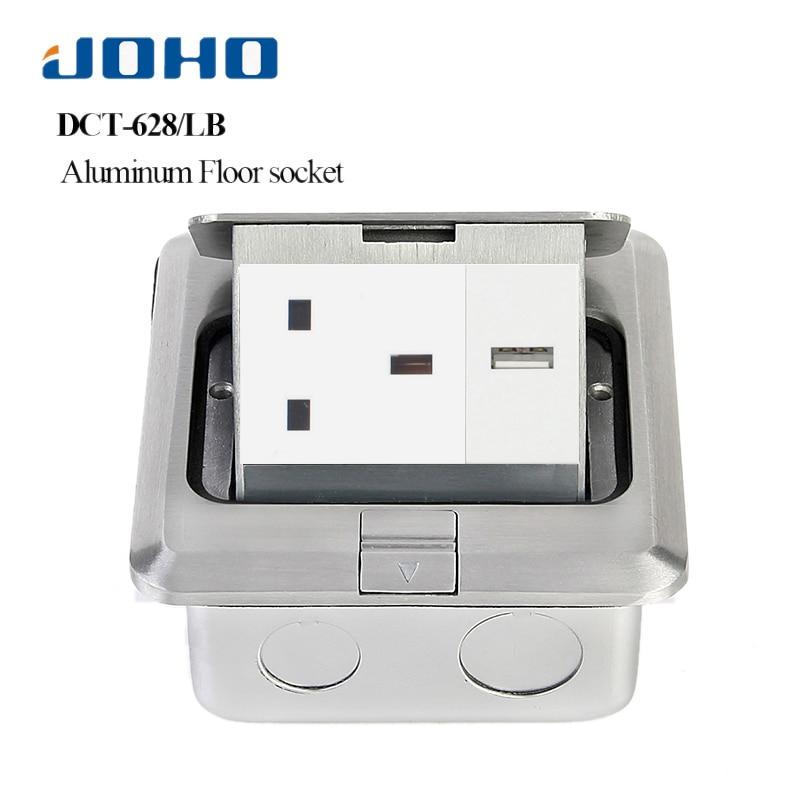 JOHO Aluminum Alloy Pop up Electrical Sockets Promotion 13A 250V UK Socket 2 Pole outlet RJ45 HDMI USB