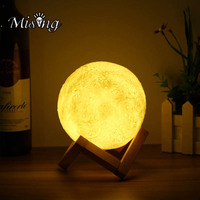 Mising String Light 3D Moon Lamp USB LED Remote Control 4 Colors Changing Night Light Table