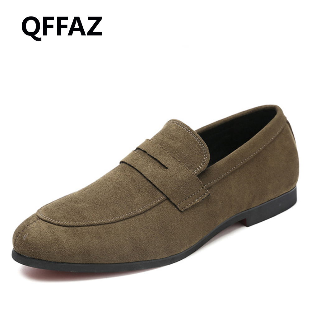 QFFAZ New Spring High Quality Slip on Men Loafers Leather Shoes Casual Breathable Men Flat Shoes Fashion Shoes Big Size 38-48 spring high quality genuine leather dress shoes fashion men loafers slip on breathable driving shoes casual moccasins boat shoes
