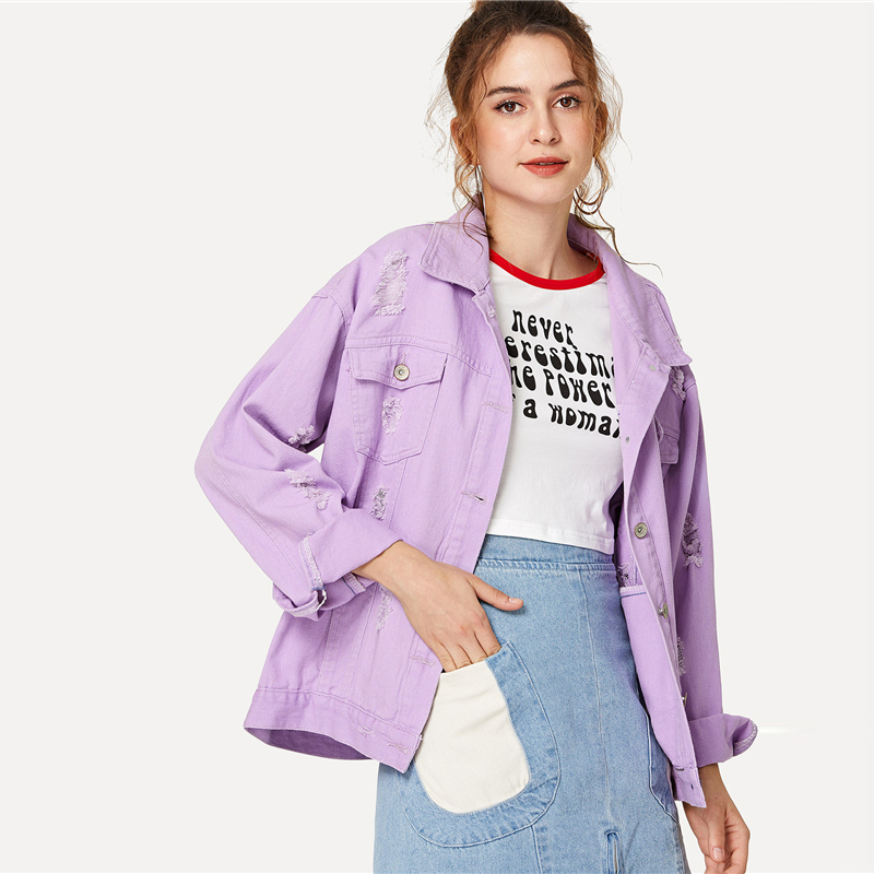 COLROVIE Ripped Drop Shoulder Women Denim Jackets Black White Oversize Purple Casual Female Jacket Coat Chic Jacket for Girls 8
