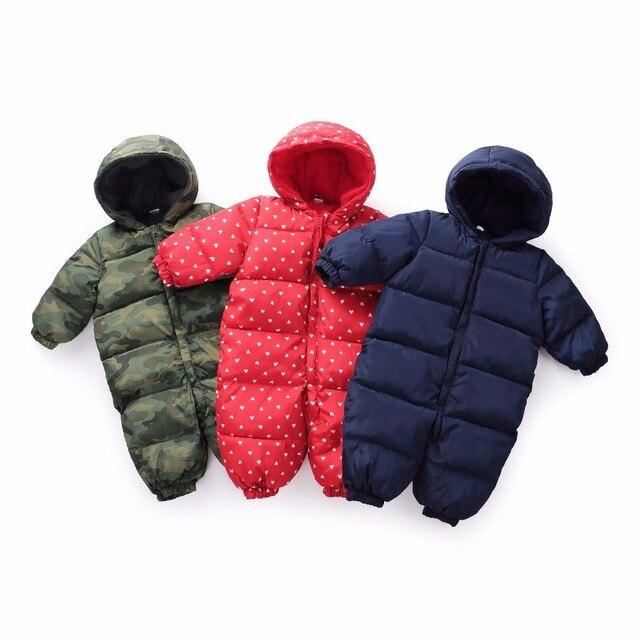 La nieve Bebé Ropa de nieve de algodón cálido abrigo para niños mono  mameluco niños bebé a1499c50bc8e