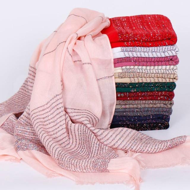 Plain Shimmer maxi katoenen sjaal hijab effen Omzoomd sjaals glitter moslim lange moslim hoofd wrap tulbanden sjaals/sjaal 10 stks/partij