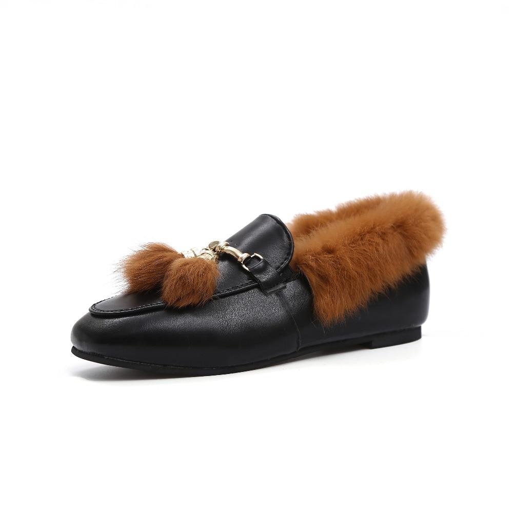 Mujeres de La Manera Plana Zapatos de la Felpa Caliente del Invierno Zapatos Muj