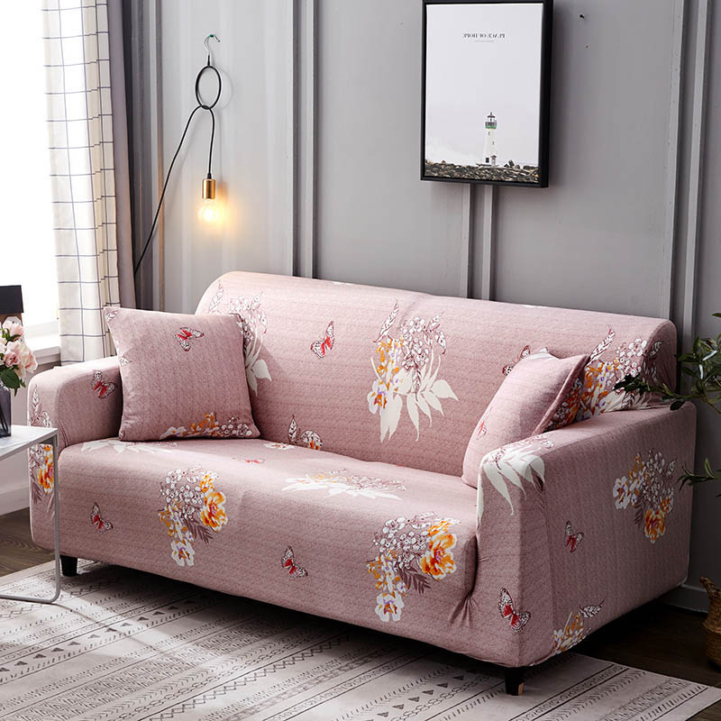 1pc Leaf and Flower Printed Sofa Cover Made of Polyester and Spandex Fabric for L Shaped and Corner Sofa 6