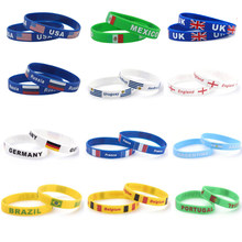 Silicone Country World Flag Logo Sport Football Fans Elastic Wrist Band Souvenir Gift dropshipping(China)