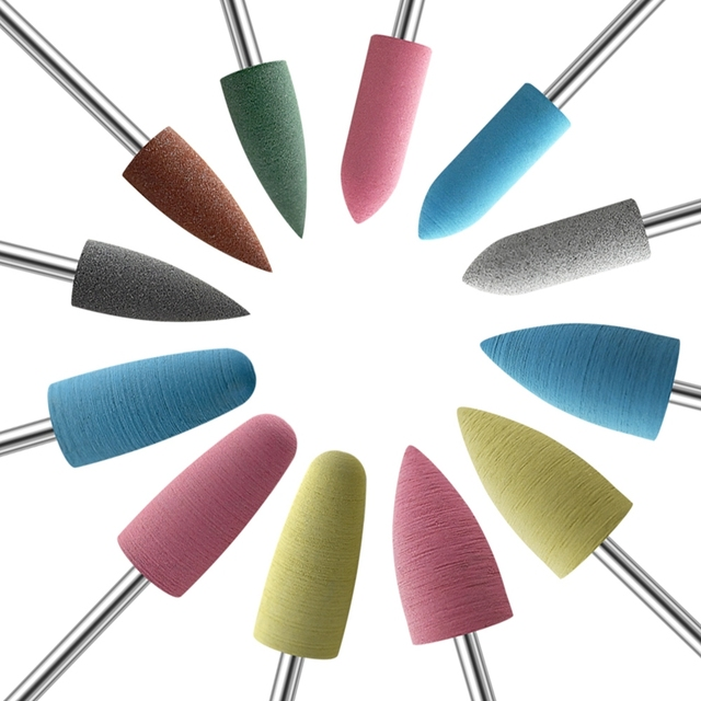Rolabling Rubber Nail Drill Bits Milling Cutters Pedicure Tools Silicone Polishing Buffer Files Manicure Bit nails accessories