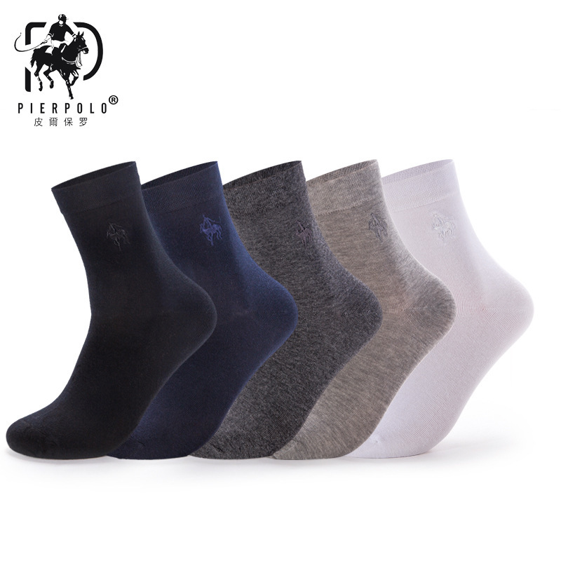 2018 High Quality Fashion 5 Pairs/lot Brand PIER POLO Casua Cotton Socks Business Embroidery Men's Socks Manufacturer Wholesale