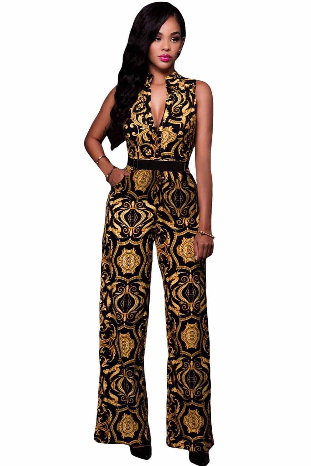 4163b8cbce6e 2016 New Fashion Plus Size Sexy Club Rompers Women Jumpsuit 2 Colors Print Gold  Belted Jumpsuit LC64021 macacao feminino-in Jumpsuits from Women s Clothing  ...